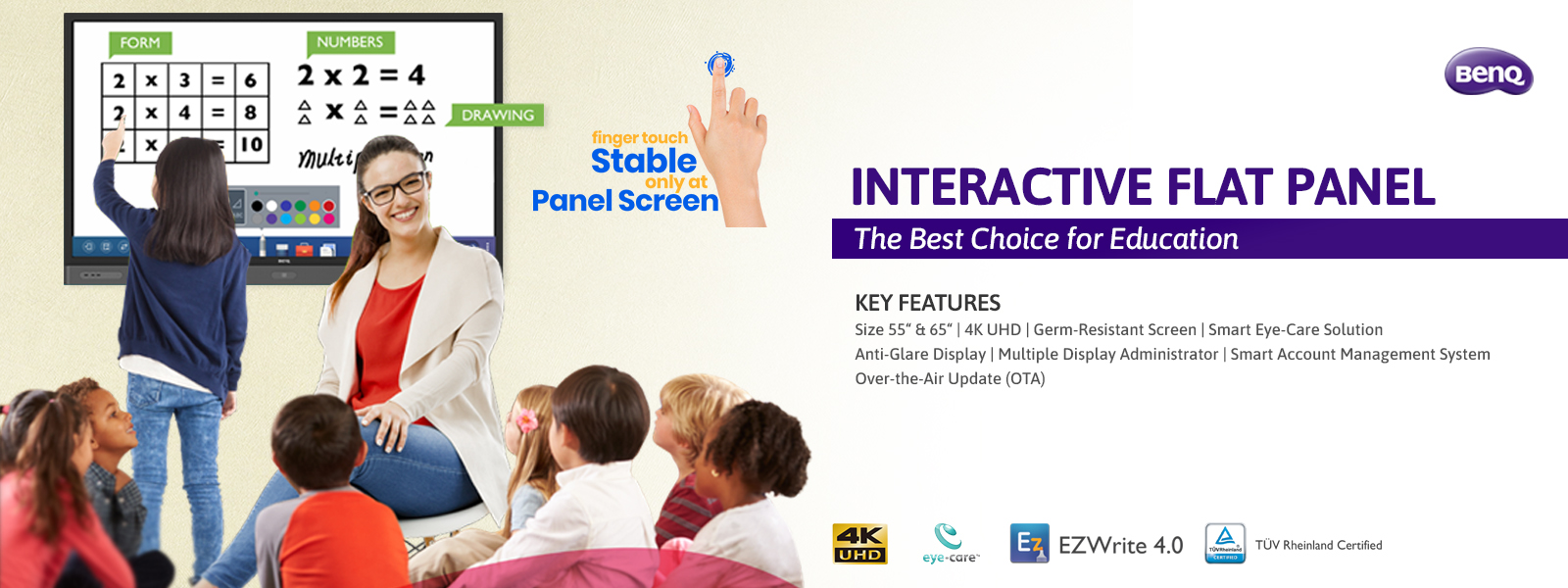 benq interactive flat panel for education slider