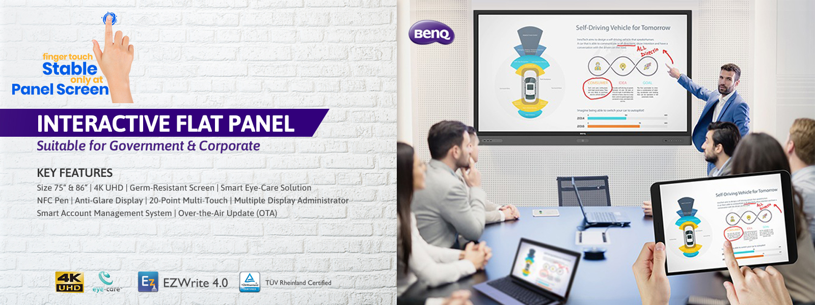 benq interactive flat panel for government & corporate slider